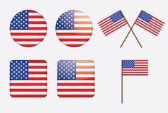 Emblemas com bandeira de Estados Unidos Imagem de Stock