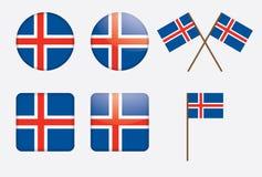 Emblemas com a bandeira de Islândia Foto de Stock Royalty Free