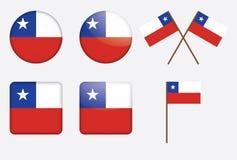 Emblemas com a bandeira do Chile Imagens de Stock Royalty Free