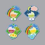 Emblemas con los cochecitos de niño alegres libre illustration