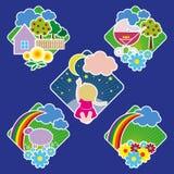 Emblemas con los dibujos alegres Foto de archivo