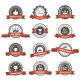 Emblemas, crachás e selos com fitas - concessões e selos ilustração do vetor