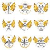 Emblemas da arma do vintage ajustados Brasão heráldica, vecto do vintage ilustração do vetor