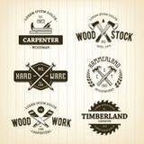Emblemas da carpintaria do vintage Imagens de Stock