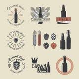 Emblemas da cervejaria da cerveja do ofício do vintage Fotografia de Stock Royalty Free
