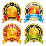 Emblemas da garantia com fita Imagens de Stock