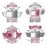 Emblemas da loja da bateria de carro Imagens de Stock