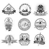 Emblemas da pesca ajustados ilustração do vetor