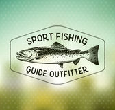 Emblemas da pesca da truta do vintage Imagens de Stock