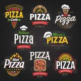 Emblemas da pizza ajustados ilustração stock