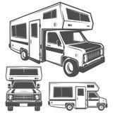 Emblemas das caravana das camionetes de campista dos veículos recreativos dos carros do rv, logotipo, sinal, elementos do projeto Imagem de Stock