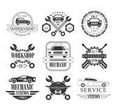 Emblemas de Black And White del mecánico de automóviles Fotografía de archivo libre de regalías