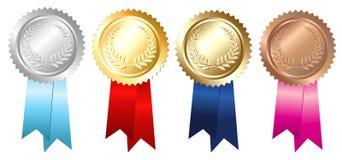 Emblemas de bronze de prata do ouro Fotos de Stock Royalty Free