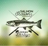 Emblemas de color salmón de la pesca del vintage Fotos de archivo libres de regalías