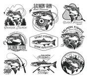 Emblemas de color salmón de la pesca del vintage Imagen de archivo libre de regalías