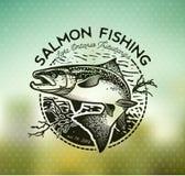 Emblemas de color salmón de la pesca del vintage Imágenes de archivo libres de regalías