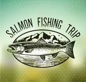 Emblemas de color salmón de la pesca del vintage Foto de archivo