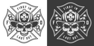 Emblemas de combate ao fogo monocromáticos ilustração royalty free