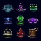 Emblemas de juego de la luz de neón Club del póker y sistema de la muestra del vector del casino libre illustration