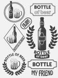 Emblemas de la cervecería de la cerveza del arte del vintage, etiquetas y elementos del diseño Cerveza mi mejor amigo Vector Fotos de archivo libres de regalías