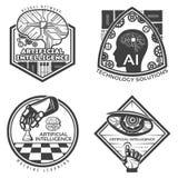 Emblemas de la inteligencia artificial del vintage fijados stock de ilustración