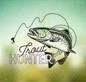 Emblemas de la pesca de la trucha del vintage Foto de archivo libre de regalías