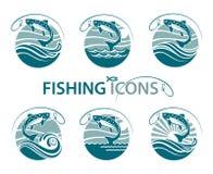 Emblemas de la pesca fijados Imagen de archivo libre de regalías