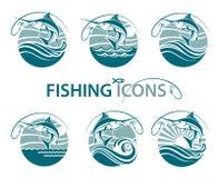 Emblemas de la pesca fijados Imagen de archivo
