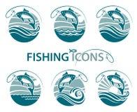 Emblemas de la pesca fijados Fotos de archivo