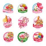 Emblemas de la tienda del caramelo fijados ilustración del vector