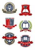Emblemas de la universidad, de la universidad y de la academia ilustración del vector