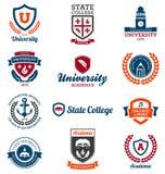 Emblemas de la universidad y de la universidad Imagenes de archivo