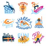 Emblemas de las actividades del mar fijados Fotos de archivo libres de regalías