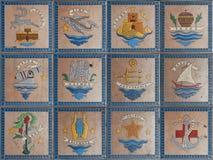 Emblemas de las islas griegas Imagen de archivo