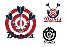 Emblemas de los dardos con las dianas y las flechas ilustración del vector