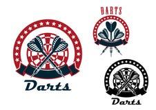 Emblemas de los dardos con las flechas y la diana stock de ilustración