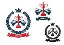 Emblemas de los dardos con las flechas y los trofeos stock de ilustración