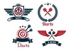 Emblemas de los dardos fijados Imagenes de archivo