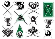 Emblemas de los deportes del billar, de la piscina y del billar Fotografía de archivo