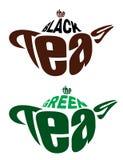 Emblemas de los elementos a partir de dos teteras Imágenes de archivo libres de regalías