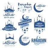 Emblemas de Ramadan Kareem fijados stock de ilustración