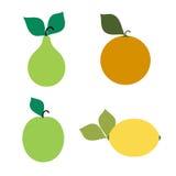 Emblemas de una pera, manzana, naranja, limón Imagen de archivo libre de regalías