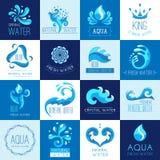 Emblemas del agua fijados stock de ilustración
