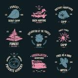 Emblemas del campo de la aventura Foto de archivo libre de regalías