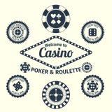 Emblemas del casino fijados Fotos de archivo