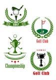 Emblemas del club de golf y del campeonato Foto de archivo