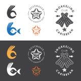 Emblemas del club que bucean stock de ilustración