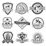 Emblemas del deporte ecuestre fijados stock de ilustración