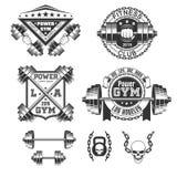 Emblemas del gimnasio del vintage stock de ilustración