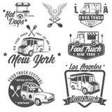 Emblemas del helado del camión y de la comida, insignias y elementos del diseño imágenes de archivo libres de regalías